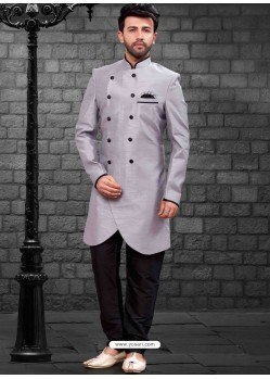 Classy Grey Indowestern Sherwani For Men