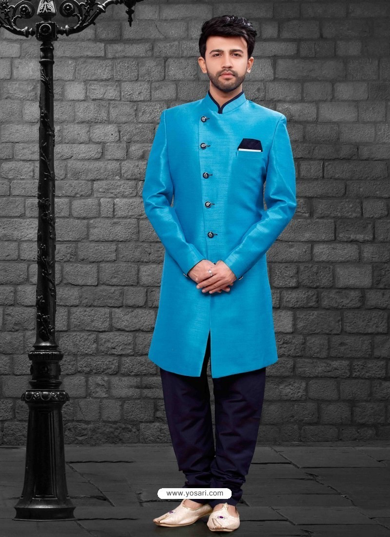 Awesome Firozi Indowestern Sherwani For Men