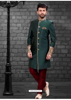 Classy Dark Green Indowestern Sherwani For Men