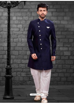 Awesome Navy Blue Indowestern Sherwani For Men