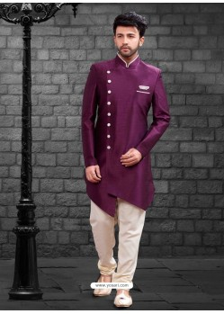 Fabulous Deep Wine Indowestern Sherwani For Men