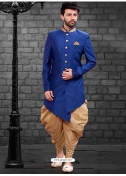 Dashing Royal Blue Indowestern Sherwani For Men