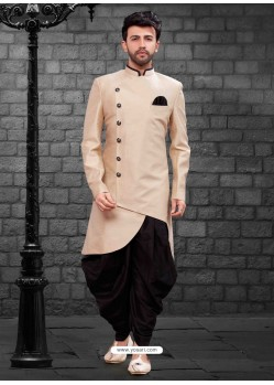 Glossy Gold Indowestern Sherwani For Men