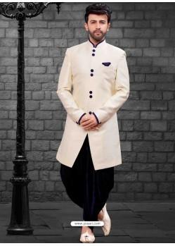 Dashing Cream Indowestern Sherwani For Men