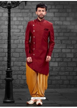 Glossy Maroon Indowestern Sherwani For Men