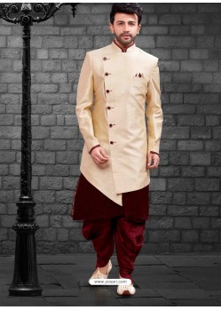 Dashing Cream Indowestern Sherwani For Men