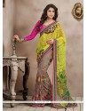 Sea Green And Pink Bamber Georgette Casual Saree