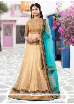 Flashy Cream Embroidery Work Lehenga Choli