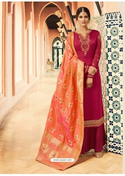 Fabulous Rose Red Embroidered Designer Palazzo Salwar Suit
