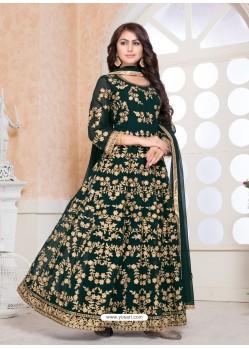 Fabulous Green Embroidered Designer Anarkali Suit