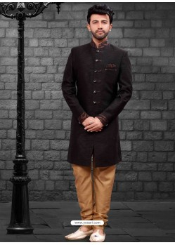Trendy Black Indowestern Sherwani For Men