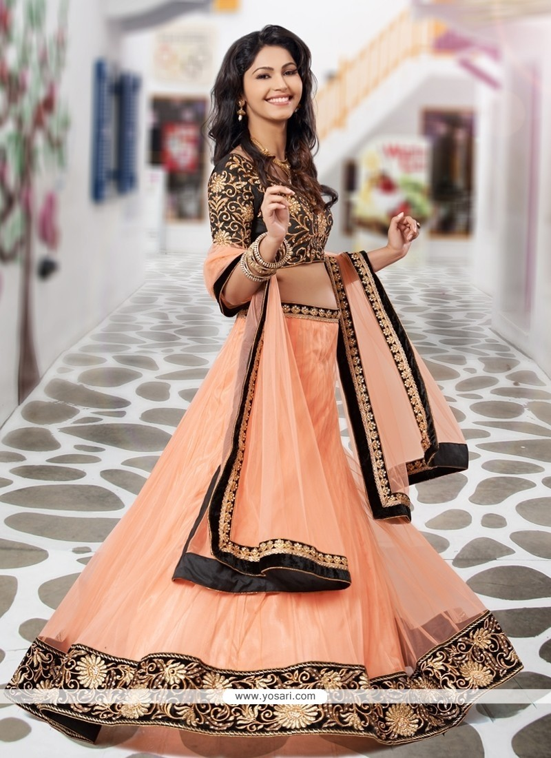 Stylish Peach Chiffon And Net Lehenga Choli
