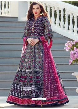 Fabulous Blue Embroidered Designer Anarkali Suit