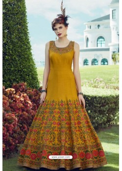 Stylish Mustard Party Wear Gown for Girls
