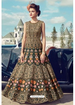 Trendy Green Party Wear Gown for Girls