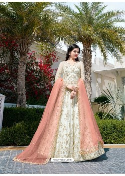 Awesome White Embroidered Designer Anarkali Suit