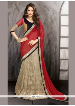 Beige And Red Net Designer Lehenga Choli
