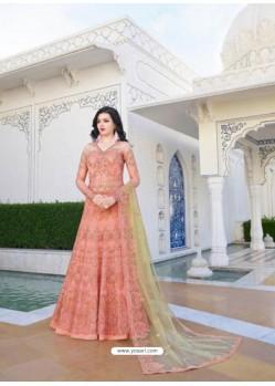 Fabulous Peach Designer Anarkali Suit