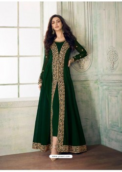 Fabulous Dark Green Embroidered Designer Anarkali Suit