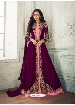 Scintillating Deep Wine Designer Anarkali Suit
