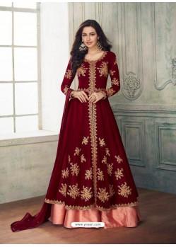 Fabulous Maroon Designer Anarkali Suit