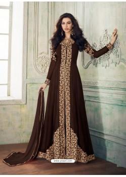 Scintillating Brown Embroidered Designer Anarkali Suit