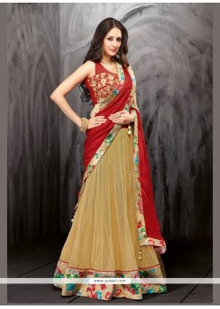 Pleasing Beige Net And Velvet Lehenga Choli