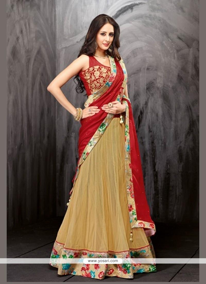 Pleasing Beige Net And Velvet Lehenga Choli