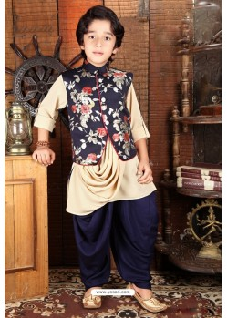 Classy Navy Blue And Cream Designer Kurta Pajama For Boys