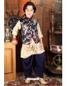 Classy Navy Blue And Cream Designer Kurta Pajama For Boys