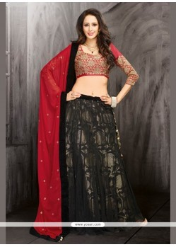 Pleasant Black Net Designer Lehenga Choli