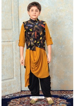 Awesome Mustard Designer Kurta Pajama For Boys