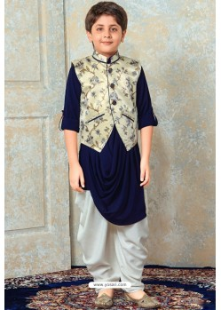 Fabulous Royal Blue Designer Kurta Pajama For Boys