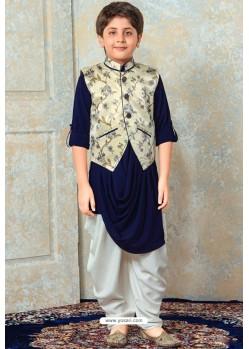 Fabulous Royal Blue Designer Kurta Pajama For Boys