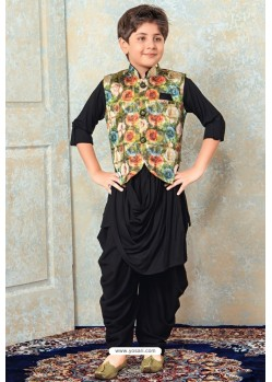 Dashing Black Designer Kurta Pajama For Boys