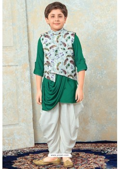 Glossy Dark Green Designer Kurta Pajama For Boys