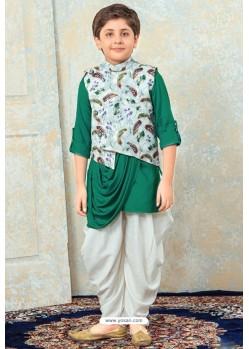 Glossy Dark Green Designer Kurta Pajama For Boys