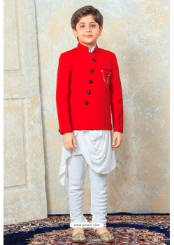 Dashing Red And White Designer Kurta Pajama For Boys