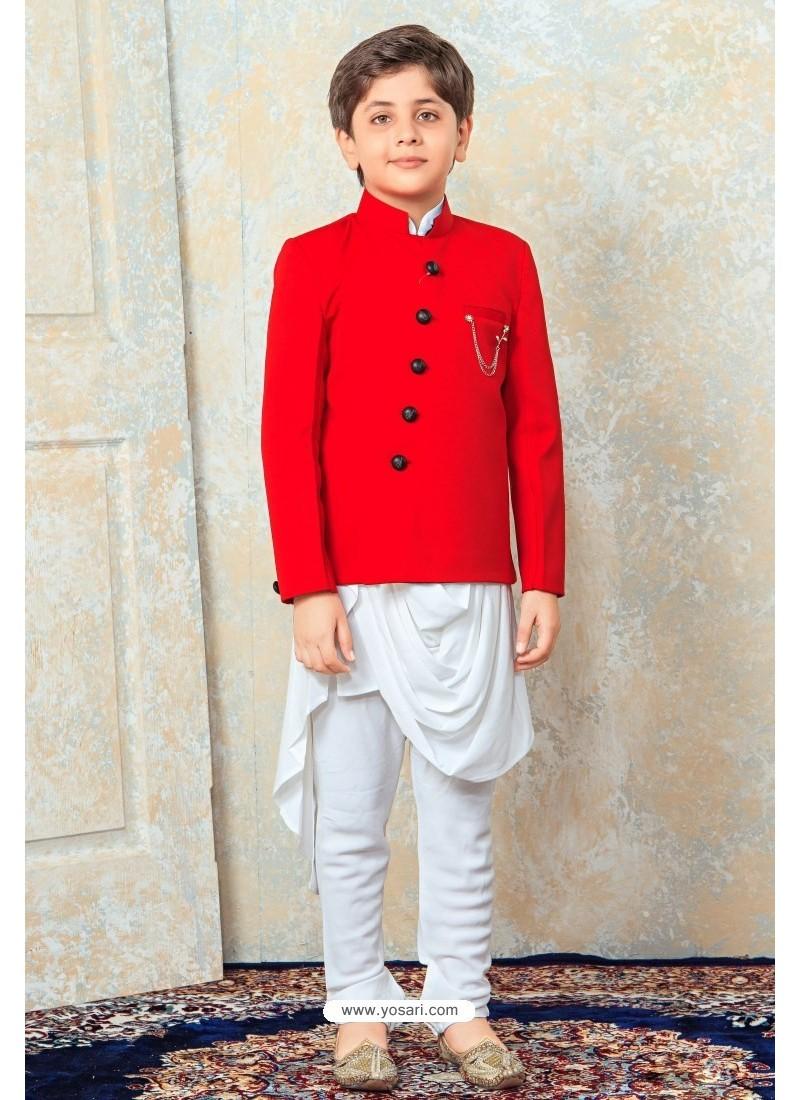 Dashing Red And White Designer Kurta Pajama For Boys
