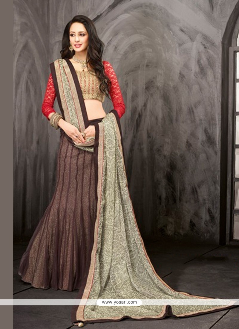 Enthralling Brown Net Jacquard Lehenga Choli