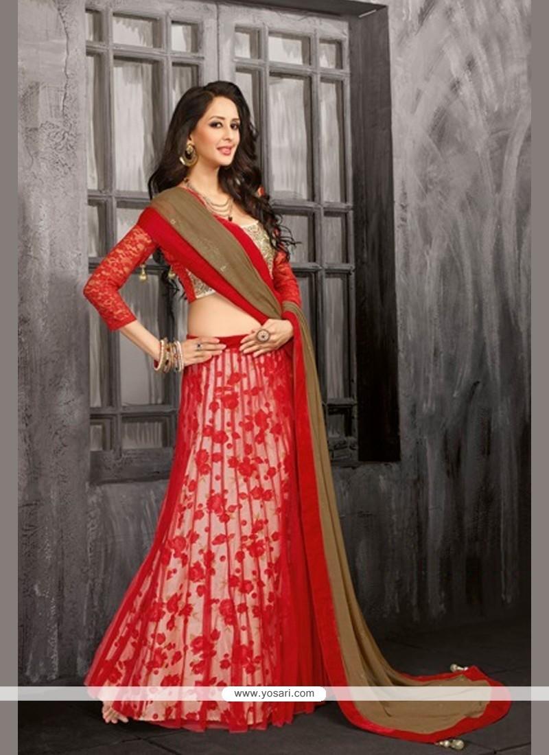 Classy Red Net Wedding Lehenga Choli