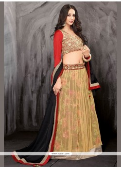Lovely Cream Net Wedding Lehenga Choli
