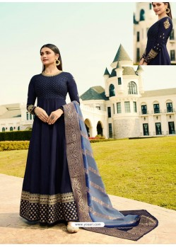 Ravishing Navy Blue Embroidered Designer Anarkali Suit
