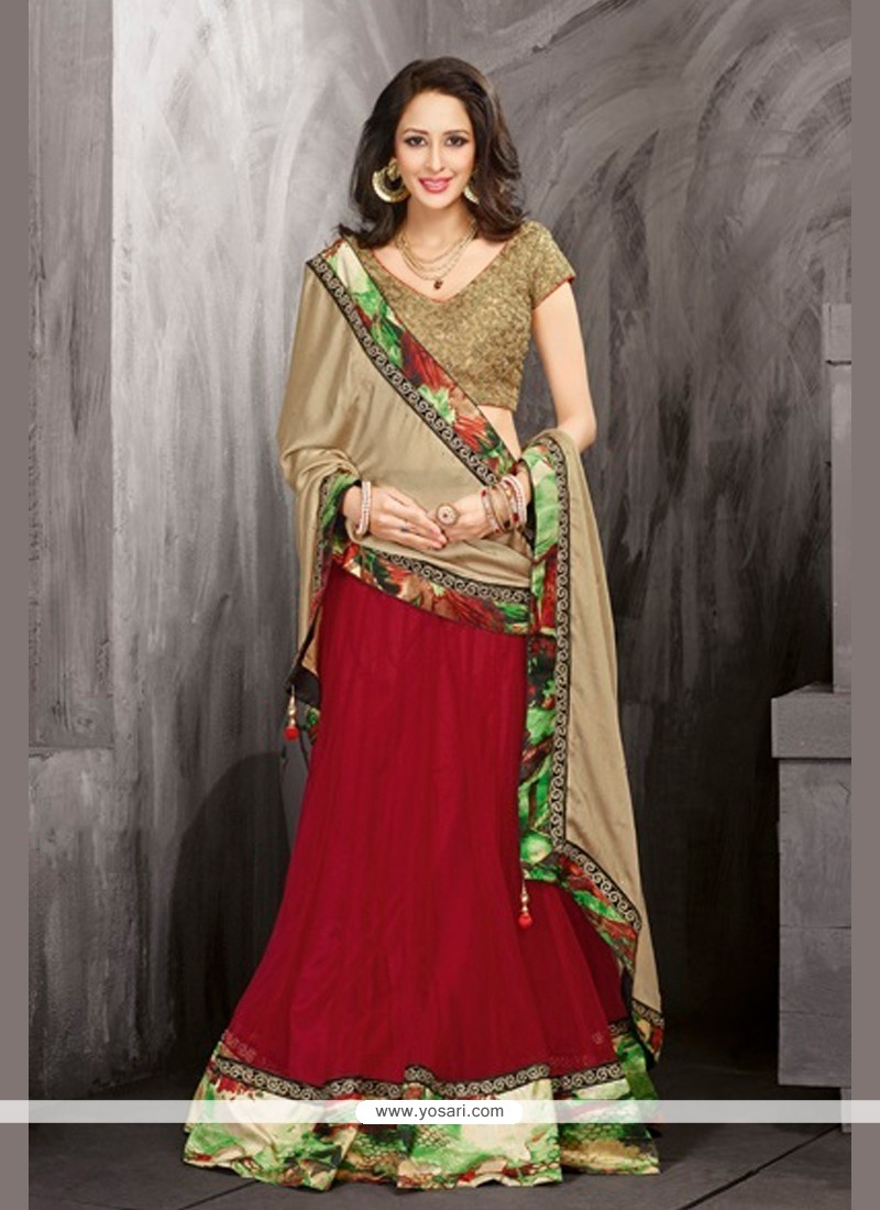 Beige And Maroon Net Lehenga Choli