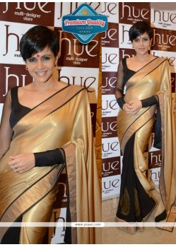 Mandira Bedi Style Black And Gold Stain Saree
