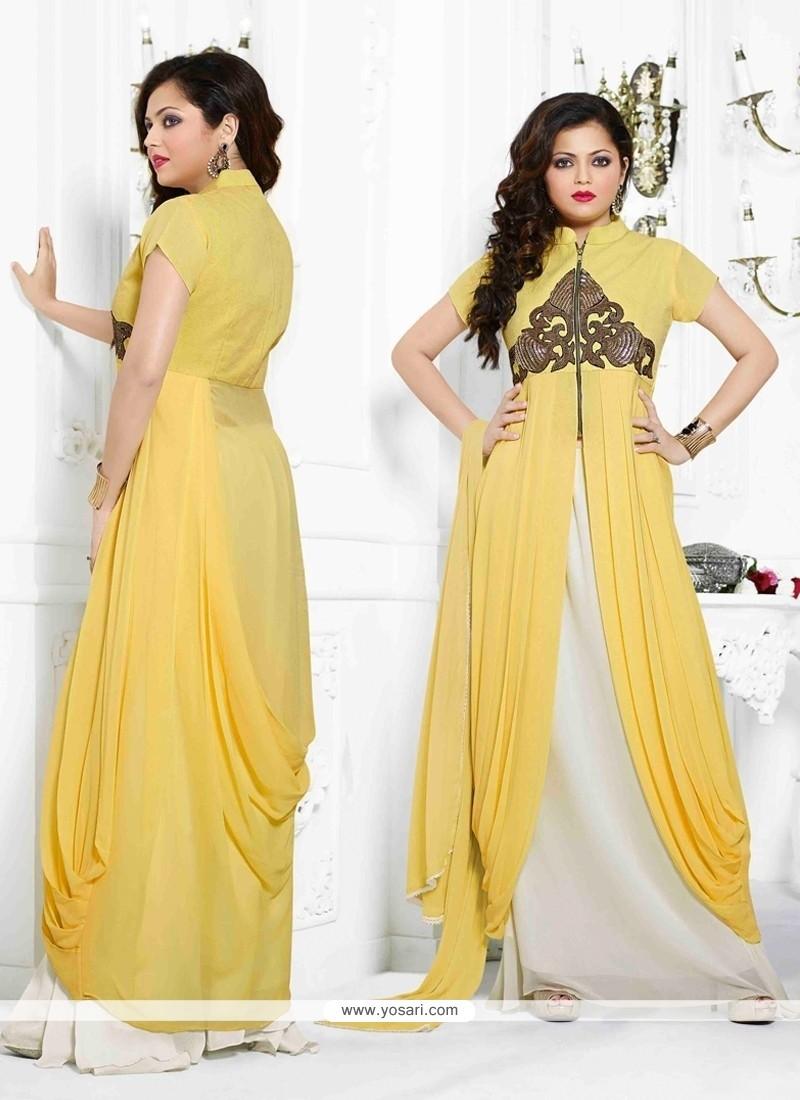 Fabulose Yellow Georgette Lehenga Choli