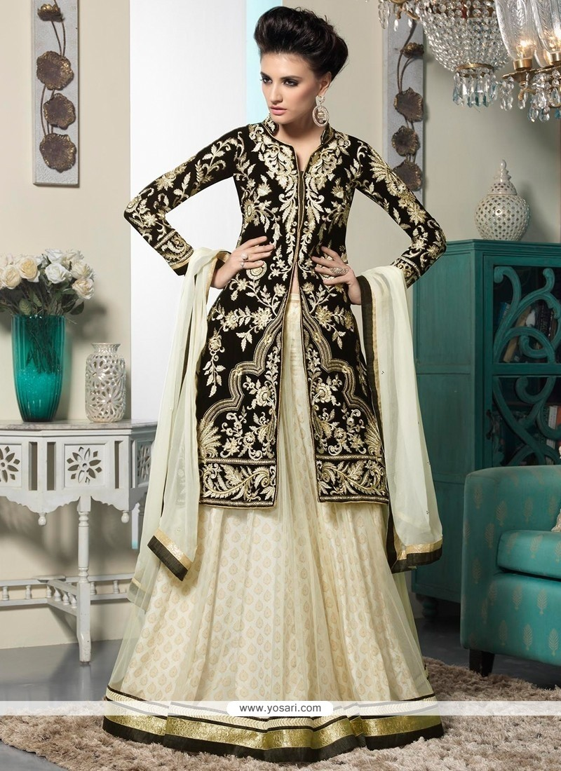 Elite Off White And Black Net Lehenga Choli