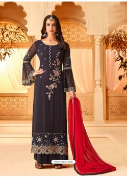 Trendy Black Embroidered Palazzo Salwar Suit