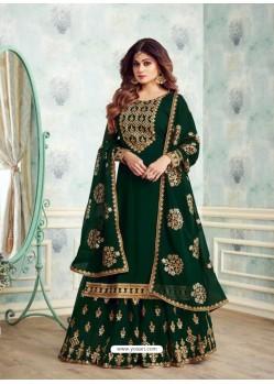 Fabulous Dark Green Embroidered Palazzo Salwar Suit
