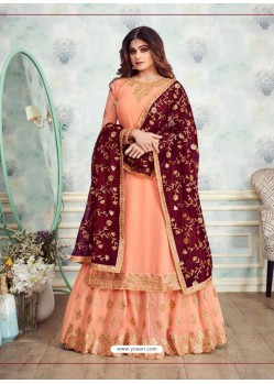 Scintillating Peach Embroidered Palazzo Salwar Suit